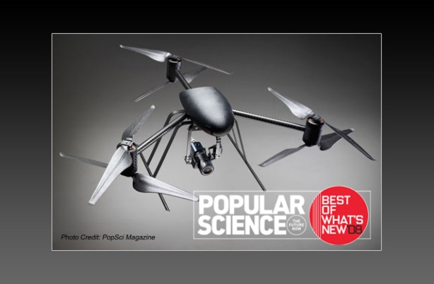 The DraganFlyer X6, UAV Helicopter Aerial Surveillance Device - with DSLR camera!