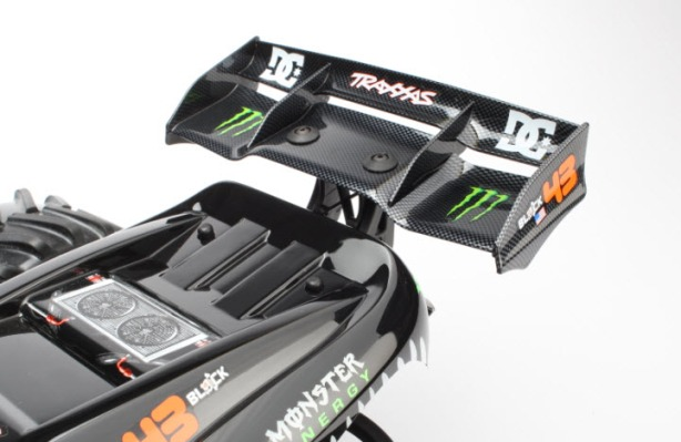 Aggressive rear wing for greater downforce at high-speed and tail-end stability during jumps