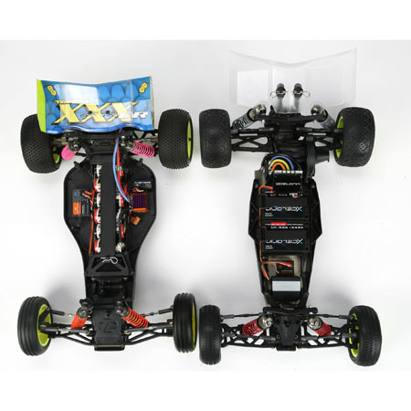 Side by side comparison of the Losi XXX and the new TLR22